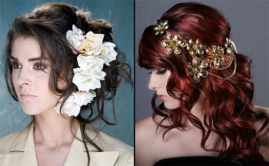 стильные, модельные женские прически с заколками-цветами