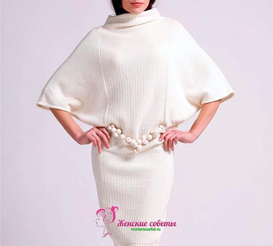 вязаное платье-туника летящая мышь
