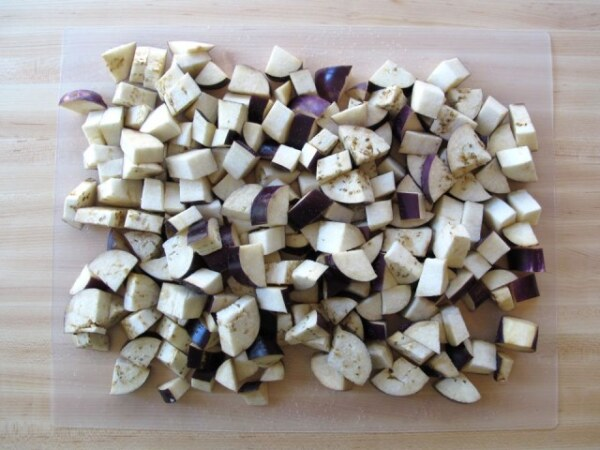 Баклажаны кубиками, заготовка