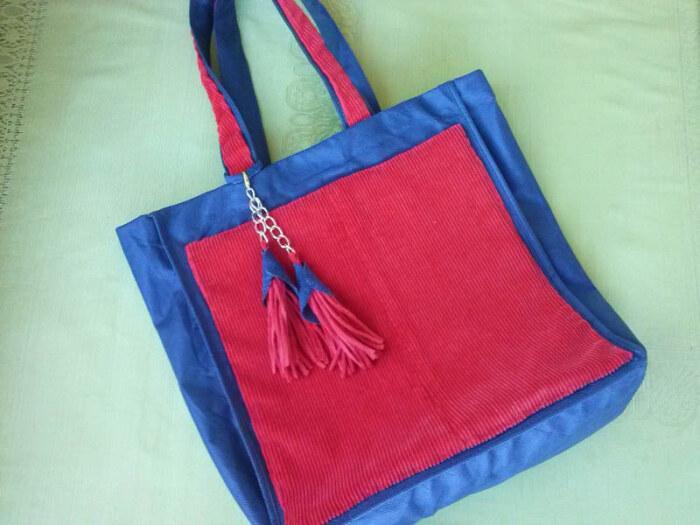 Готовая сумка из вельветовой ткани