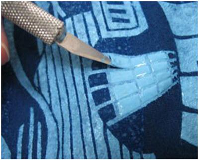 снятие трафарета ножом