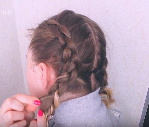 французская коса волосы короткие