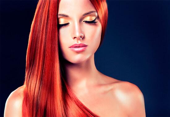 Волосы окрашенные в рыжий цвет