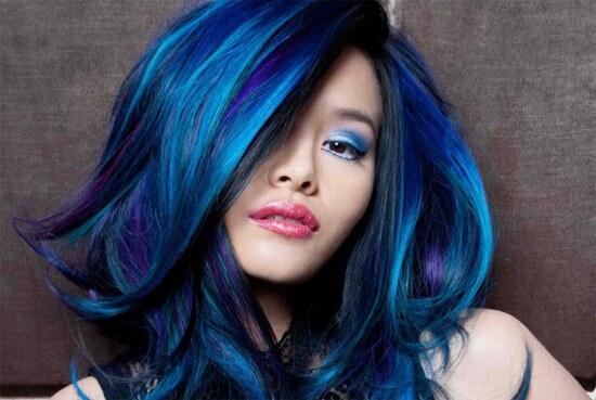 покраска волос, омбре синий