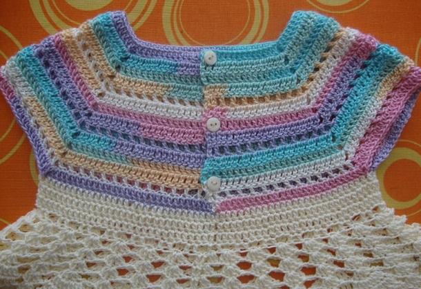 кокетка для детского платья крючком круглая и квадратная