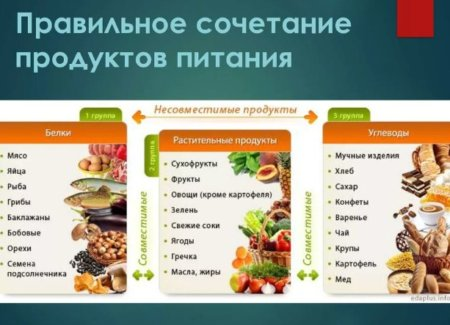 таблица совмещения продуктов по белково углеводному типу
