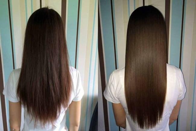 Волосы до и после их экранирования