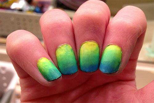 Дизайн ногтей Омбре с поролоновой губкой