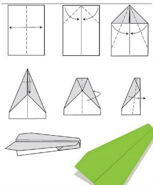 Схема складывания простого бумажного самолета