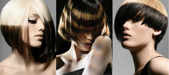 поперечное колорирование, окраска волос