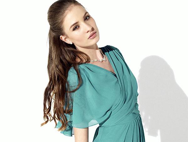 Платье из шифона зеленое