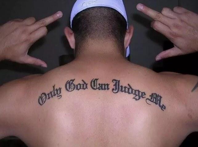 татуировка на спине Only God can judge me