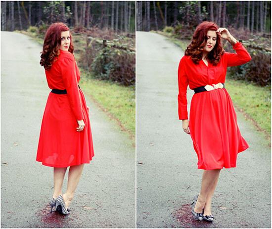 Красное платье на пышной женщине