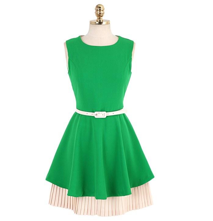 Зеленое платье солнце