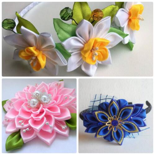 канзаши - цветы из атласных лент