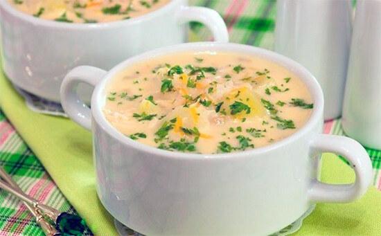 Сырный суп из куриной грудки